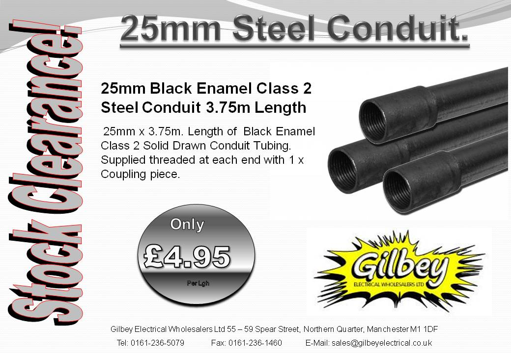 Conduit - 25mm Black Steel